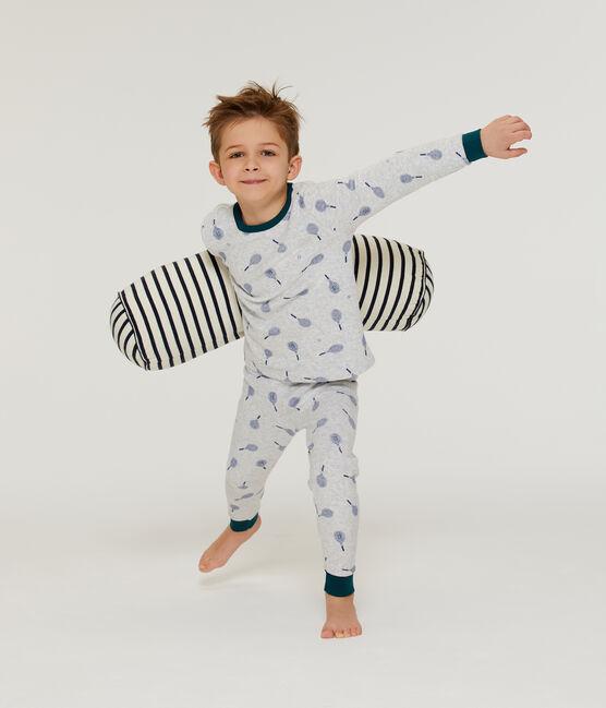 Pyjama petit garçon en bouclette éponge grattée gris Poussiere / bleu Medieval