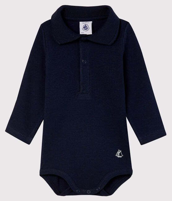 Body manches longues col polo bébé bleu Smoking