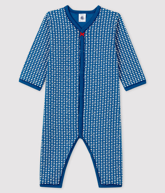 Dors-bien bleu sans pieds bébé fille en tubique bleu Major / blanc Ecume