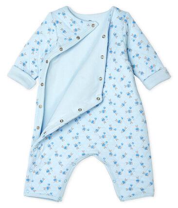 Combinaison longue bébé mixte en tubique bleu Fraicheur / blanc Multico