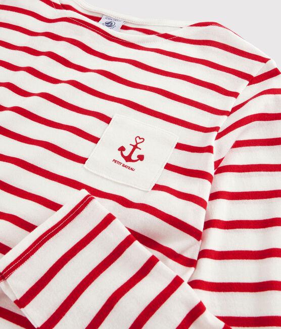 T-shirt marinière fille et garçon blanc Marshmallow / rouge Peps