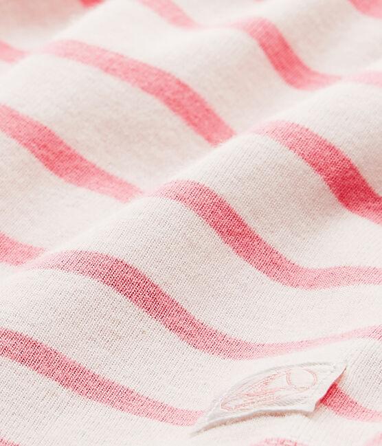Robe body bébé fille à rayures blanc Marshmallow / rose Petal