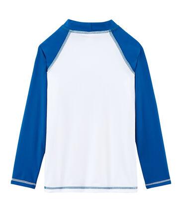 Tee shirt protection solaire fille et garçon blanc Marshmallow / bleu Riyadh