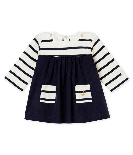 Robe iconique bébé fille beige Coquille / bleu Abysse