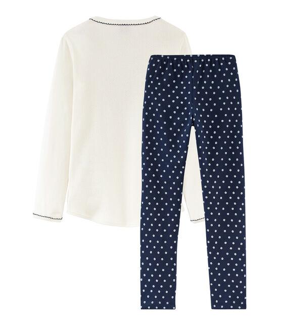 Pyjama petite fille en côte bleu Haddock / blanc Marshmallow