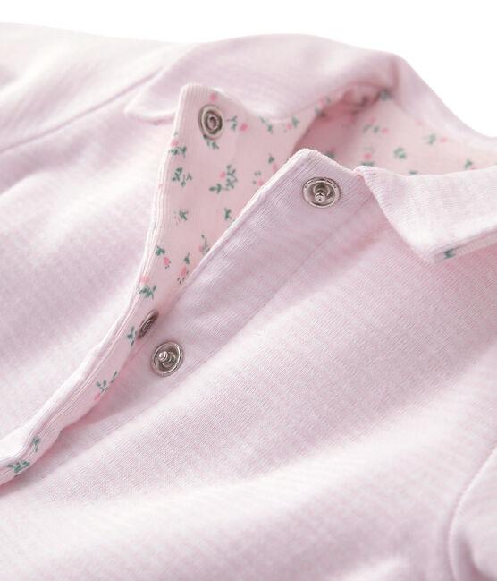Veste bébé mixte ouatinée réversible à milleraies rose Vienne / blanc Ecume
