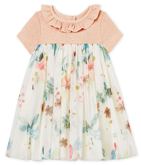 Robe manches courtes bi-matière bébé fille rose Pearl / blanc Multico