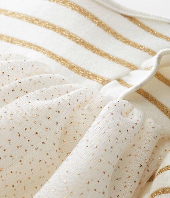 Robe en tulle pailleté bébé fille blanc Marshmallow / jaune Dore