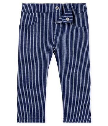 Pantalon en maille rayée bébé garçon bleu Smoking / blanc Marshmallow