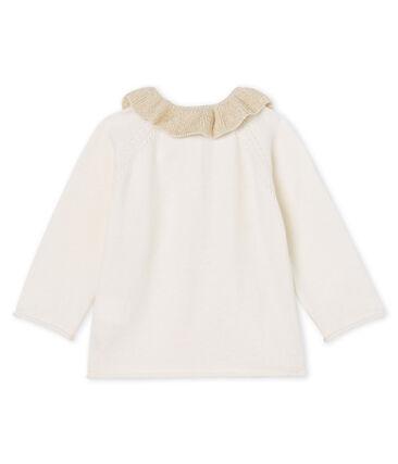 Cardigan bébé fille en tricot laine et coton blanc Marshmallow