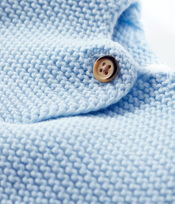 Cardigan bébé en tricot 100% coton bleu Toudou
