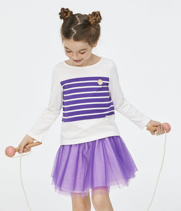 Tee-shirt enfant fille blanc Marshmallow / violet Real