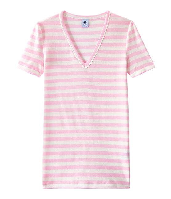 T-shirt femme col V en côte originale rayée rose Babylone / blanc Marshmallow