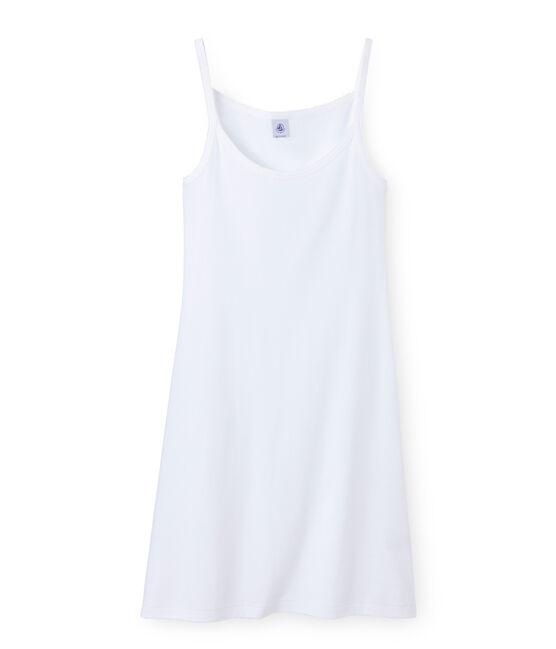 Chemise à bretelles femme coton/laine/soie blanc Lait