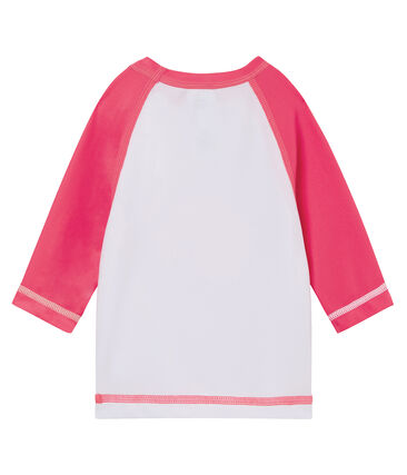 Tee-shirt anti-UV UPF 50+ bébé blanc Marshmallow / rose Cupcake