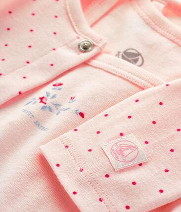 Ensemble bébé 2 pièces en côte rose Fleur / rose Geisha