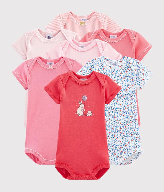 Pochette surprise de 7 bodies manches courtes bébé fille lot .
