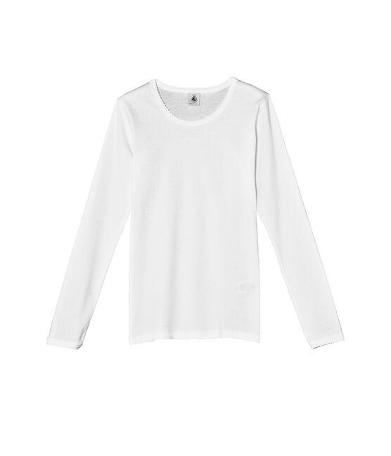 T-shirt fille manches longues uni à point cocotte blanc Ecume