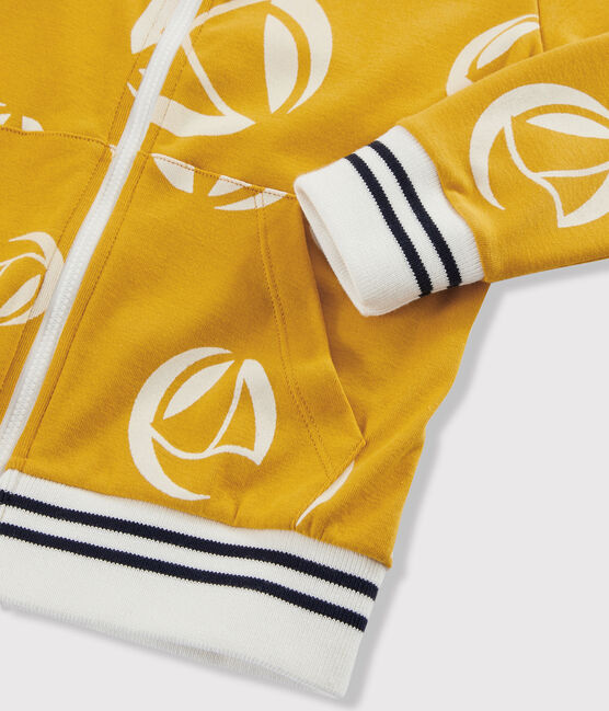 Sweatshirt zippé enfant garçon. jaune Boudor / blanc Marshmallow