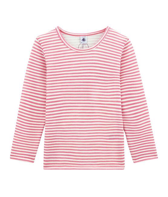 tee-shirt manches longues petite fille en laine et coton rose Cheek / blanc Marshmallow