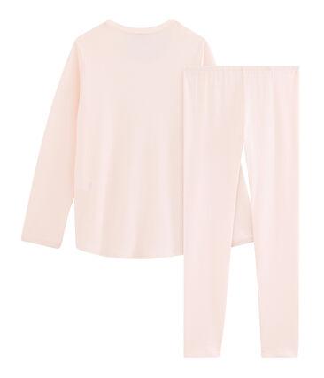Pyjama petite fille en côte rose Fleur