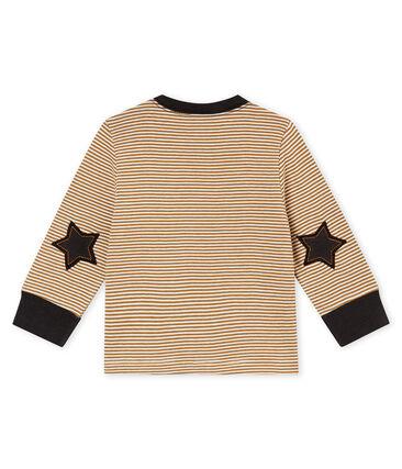 tee-shirt milleraies bébé garçon marron Brindille / blanc Marshmallow
