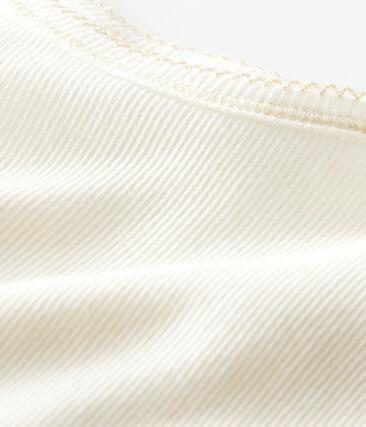 Chemise à bretelles petite fille en coton laine soie blanc Marshmallow