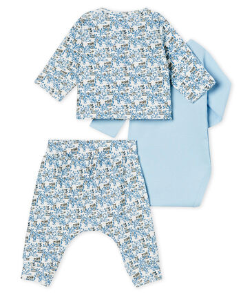 Ensemble trois pièces bébé garçon en côte blanc Marshmallow / blanc Multico