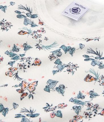 Pyjacourt petite fille coupe très ajustée en côte blanc Marshmallow / blanc Multico