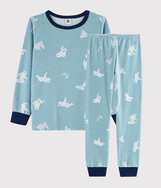 Pyjama imprimé yéti en velours petit garçon BRUME/MARSHMALLOW