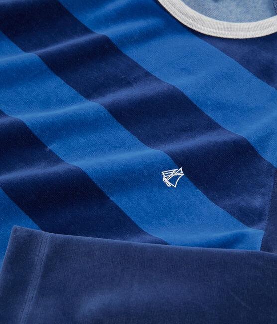 Pyjama garçon en velours bleu Medieval / bleu Major
