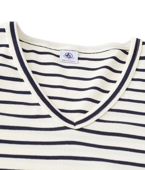 T-shirt femme manches longues col V rayé beige Coquille / bleu Smoking