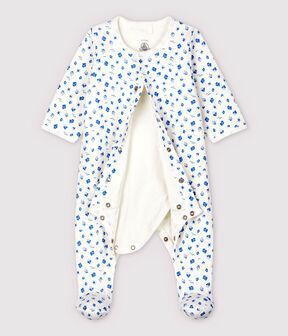 Bodyjama à imprimé bateaux bébé en tubique en coton biologique blanc Marshmallow / bleu Cool