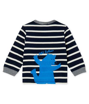 Tee shirt manches longues rayé bébé garçon bleu Smoking / blanc Marshmallow