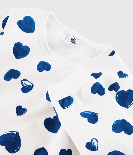 Pyjama fille imprimé cœurs en côte blanc Marshmallow / bleu Bleu