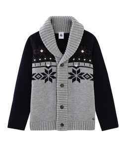 Cardigan tricot enfant garçon gris Subway / bleu Smoking