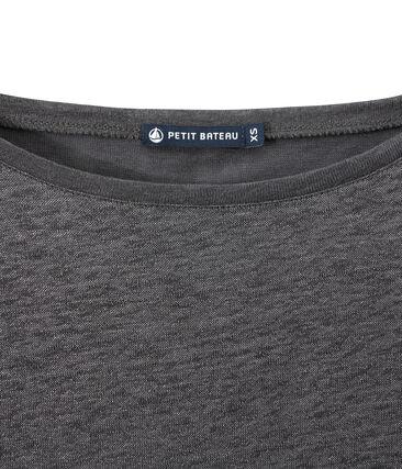 T-shirt femme manches longues en lin irisé gris Maki / gris Argent