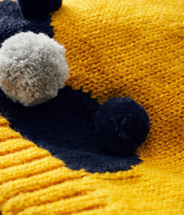 Bonnet bébé garçon doublé polaire jaune Boudor