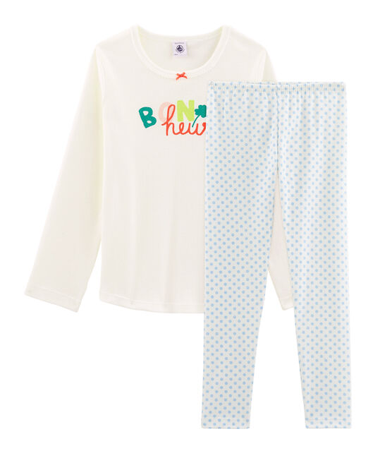 Pyjama petite fille en côte blanc Marshmallow / bleu Jasmin