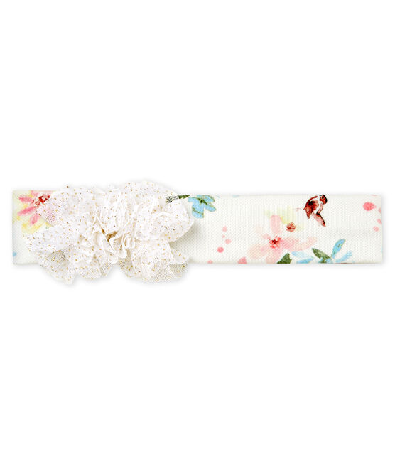 Bandeau à pompons bébé fille blanc Marshmallow / blanc Multico