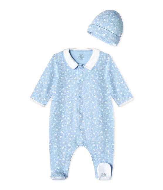 Dors bien bébé et son bonnet de naissance bleu Toudou / blanc Ecume