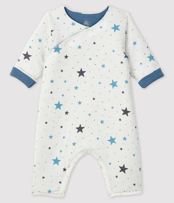 Combinaison longue bébé en côte blanc Marshmallow / gris Tempete