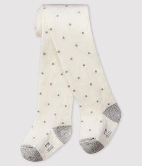 Collant à pois bébé fille blanc Marshmallow / gris Argent