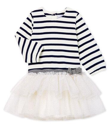 Robe manches longues bébé fille rayée blanc Marshmallow / bleu Smoking