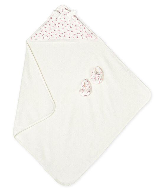 Coffret carré de bain et chaussons bébé en éponge et côte blanc Marshmallow / rose Groseiller