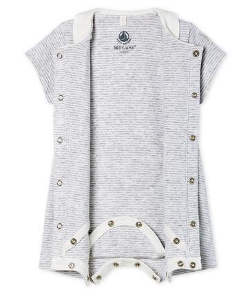 Bodyjama court bébé en côte gris Poussiere / blanc Marshmallow