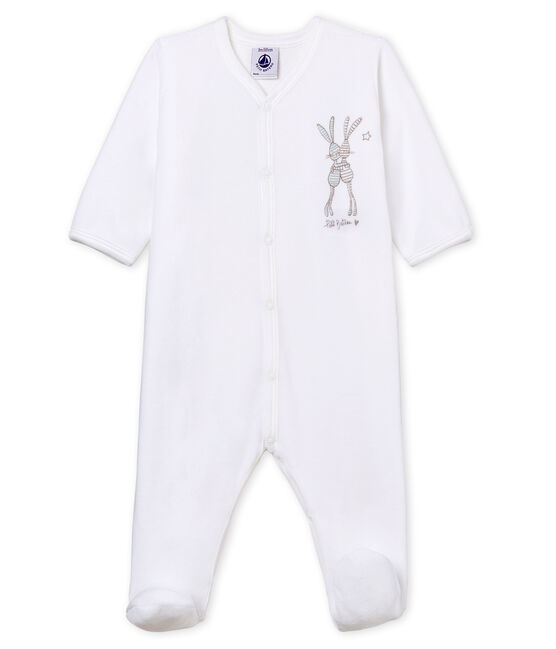 Dors bien bébé mixte en velours blanc Ecume