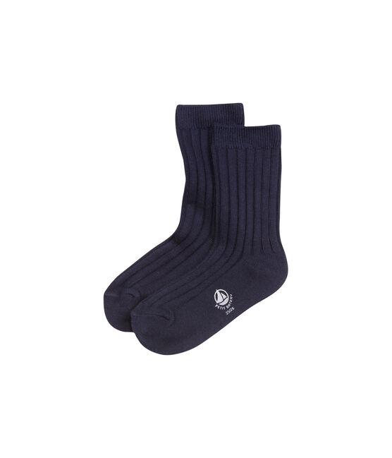 Chaussettes garçon unies bleu Abysse