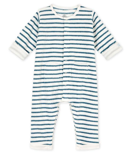 Combinaison longue à rayures bébé en bouclette éponge grattée extra chaude blanc Marshmallow / bleu Astro