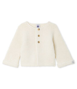 Cardigan laine et coton point mousse bébé fille